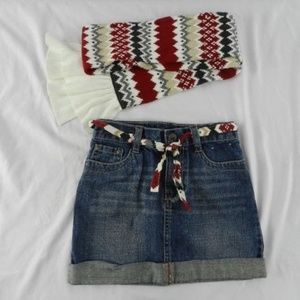 Girls Size 5 Gymboree Denim Skirt Matching Scarf